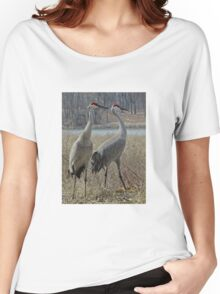 Cherokee Marsh Sandhill Cranes  Women's Relaxed Fit T-Shirt