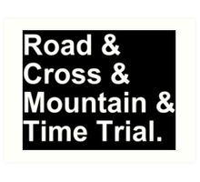 Bicycling Styles - Road, Cross, Mountain, Time Trial Art Print