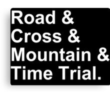 Bicycling Styles - Road, Cross, Mountain, Time Trial Canvas Print
