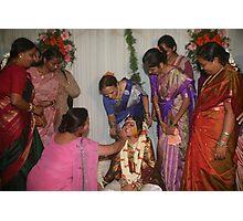Womenfolk applying kumkum and haldi Photographic Print
