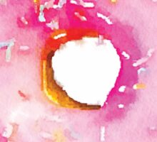 Pink Sprinkled Donut Watercolor - Hipster/Funny/Trendy Meme Sticker