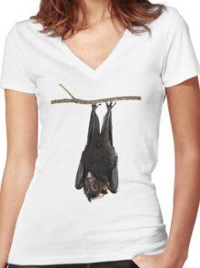 Spectacled Flying Fox Women's Fitted V-Neck T-Shirt