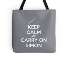 Keep Calm and Carry On Simon—White Text Tote Bag