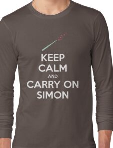 Keep Calm and Carry On Simon (White Text) T-Shirt