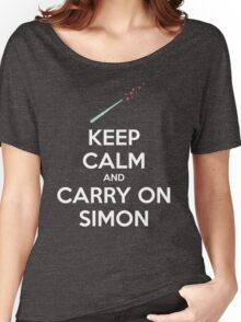 Keep Calm and Carry On Simon (White Text) Women's Relaxed Fit T-Shirt