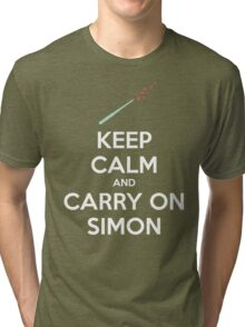 Keep Calm and Carry On Simon (White Text) Tri-blend T-Shirt