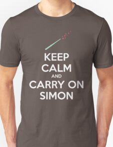 Keep Calm and Carry On Simon (White Text) Unisex T-Shirt