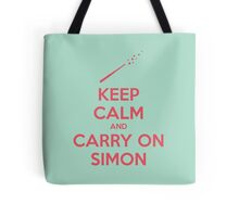 Keep Calm and Carry On Simon—Pink Text Tote Bag
