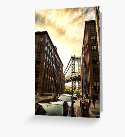 Manhattan Bridge Sunset Greeting Card