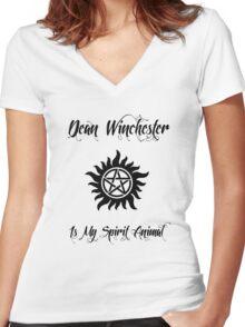 Dean-My spirit animal Women's Fitted V-Neck T-Shirt