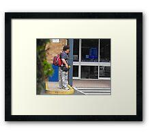 Homeless with Back-Pack Framed Print