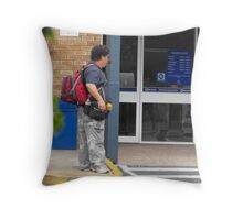 Homeless with Back-Pack Throw Pillow