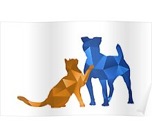 Moggy and Pooch #2. Blue&gold. Take your best friend everywhere. Poster