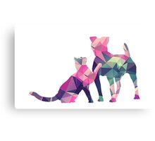 Moggy and Pooch #1. Pink&Green. Take your best friend everywhere. Canvas Print