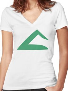 Ash Ketchum Kanto Emblem Women's Fitted V-Neck T-Shirt