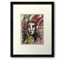She thinks she was a bird in a past life... Framed Print