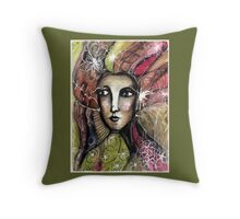 She thinks she was a bird in a past life... Throw Pillow