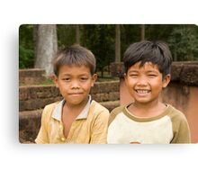 Boys at Angkor Thom Canvas Print