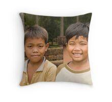 Boys at Angkor Thom Throw Pillow