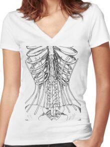 Corset Bones Women's Fitted V-Neck T-Shirt