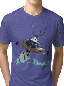 Mil Helicopter Wing Warp T-shirt Design Tri-blend T-Shirt