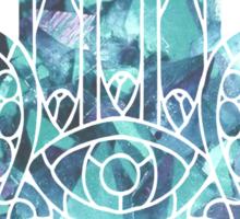 Pale Blue Crystal Hamsa Sticker