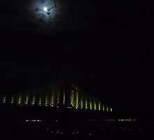 Sunshine Skyway Bridge with the Moon by Adria Bryant
