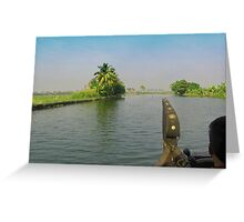 Captain of the houseboat surveying the saltwater canal in Kerala, India Greeting Card