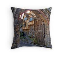 St Swithun's Gate and the Porter's Lodge - Winchester Cathedral Throw Pillow
