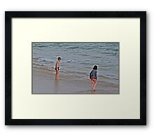 """"""" As cold as it was, these two Children just had to go into the Sea"""" Framed Print"""