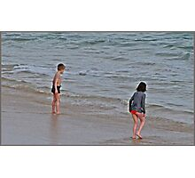 """ As cold as it was, these two Children just had to go into the Sea"" Photographic Print"