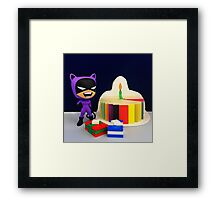 Retro Catwoman Birthday Framed Print