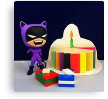 Retro Catwoman Birthday Canvas Print