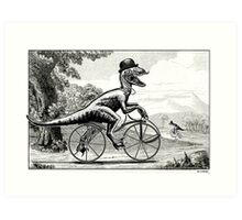 Velociraptor on a Velocipede Art Print