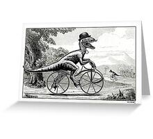 Velociraptor on a Velocipede Greeting Card