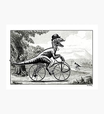Velociraptor on a Velocipede Photographic Print