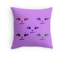 Kitty Smiles - multicolour Throw Pillow