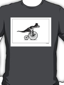 T-Rex on a Penny Farthing - Plain Back T-Shirt