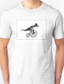 T-Rex on a Penny Farthing - Plain Back Unisex T-Shirt