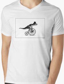 T-Rex on a Penny Farthing - Plain Back Mens V-Neck T-Shirt
