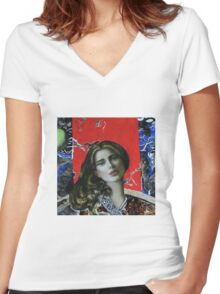 Red girl Women's Fitted V-Neck T-Shirt