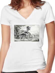 Velociraptor on a Velocipede Women's Fitted V-Neck T-Shirt