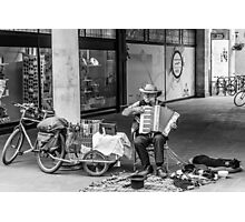 Homeless Man Playing the Accordion Photographic Print