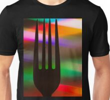Fork dining symbol silhouette on colorful background Unisex T-Shirt
