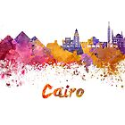 Cairo skyline in watercolor by paulrommer