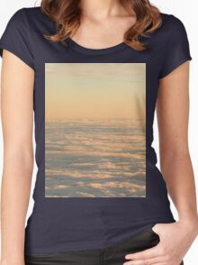 Sky with clouds in blue and pink sunset evening colors photo Women's Fitted Scoop T-Shirt