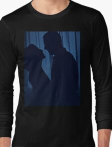 Blue silhouette couple kissing analogue film photograph Long Sleeve T-Shirt