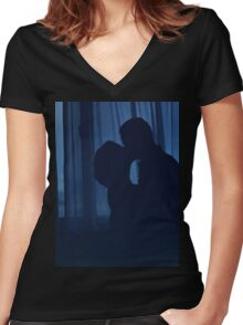 Blue silhouette couple kissing analogue film photograph Women's Fitted V-Neck T-Shirt
