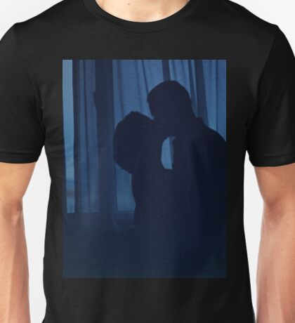 Blue silhouette couple kissing analogue film photograph Unisex T-Shirt