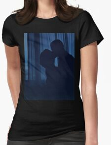 Blue silhouette couple kissing analogue film photograph Womens Fitted T-Shirt